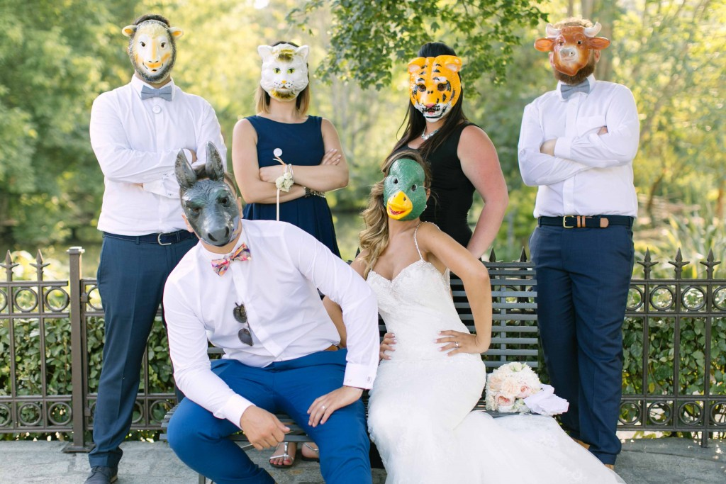 photo mariage masques animaux